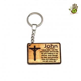 """Keychain """"Cross with the Verse of Book of John"""" Religious"""