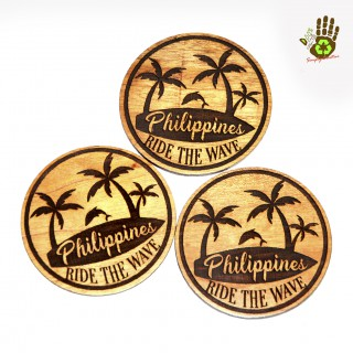 Wood Ref Magnet Circle - Philippines Ride The Wave