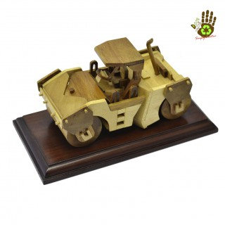 Wood Miniature Soil Compactor Collector's Item